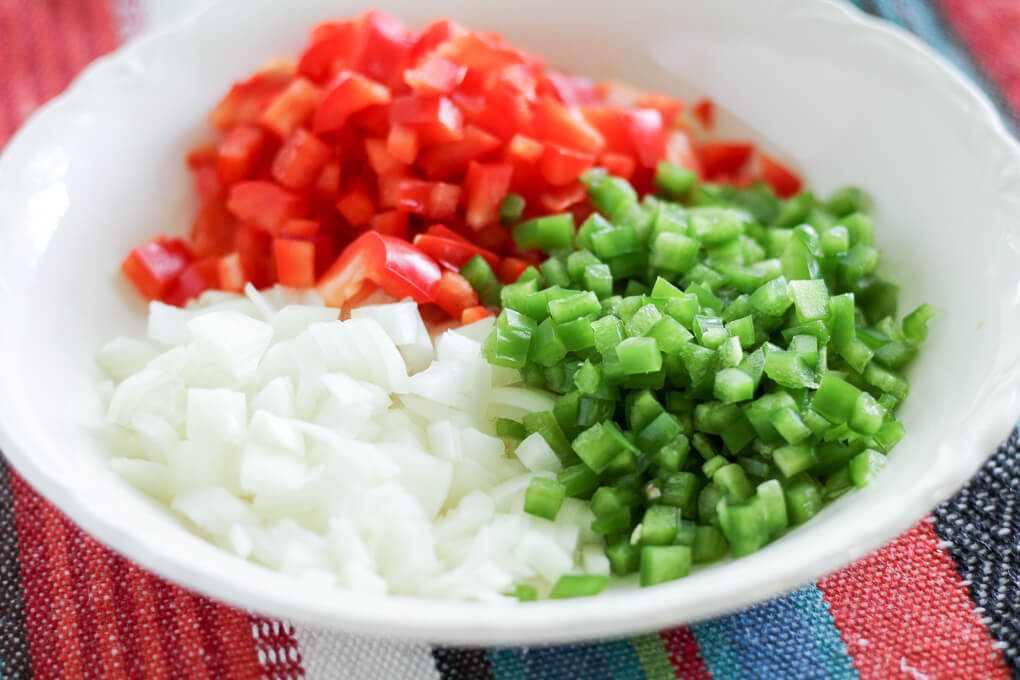 diced jalapenos, onions, and red bell pepper
