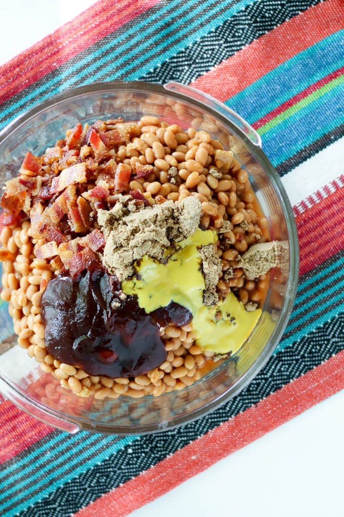 beans, sauce, bacon in a mixing bowl