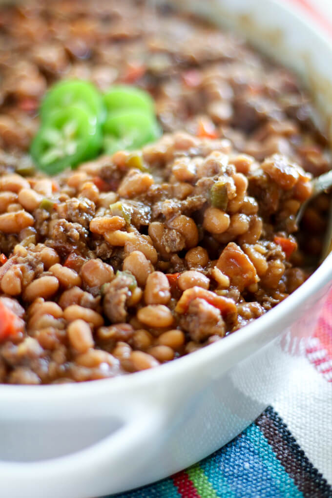 close up of a spoon of beans