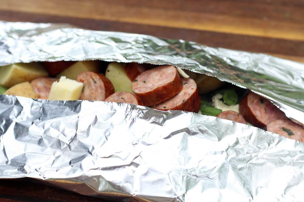 folded foil pack dinner