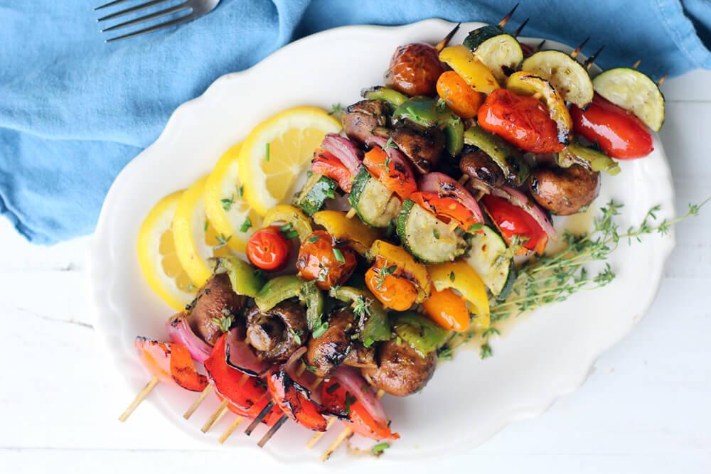 a platter of veggie skewers