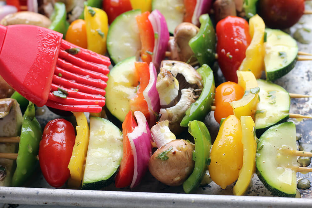 marinated zucchini, bell peppers, red onion, mushrooms, and cherry tomatoes