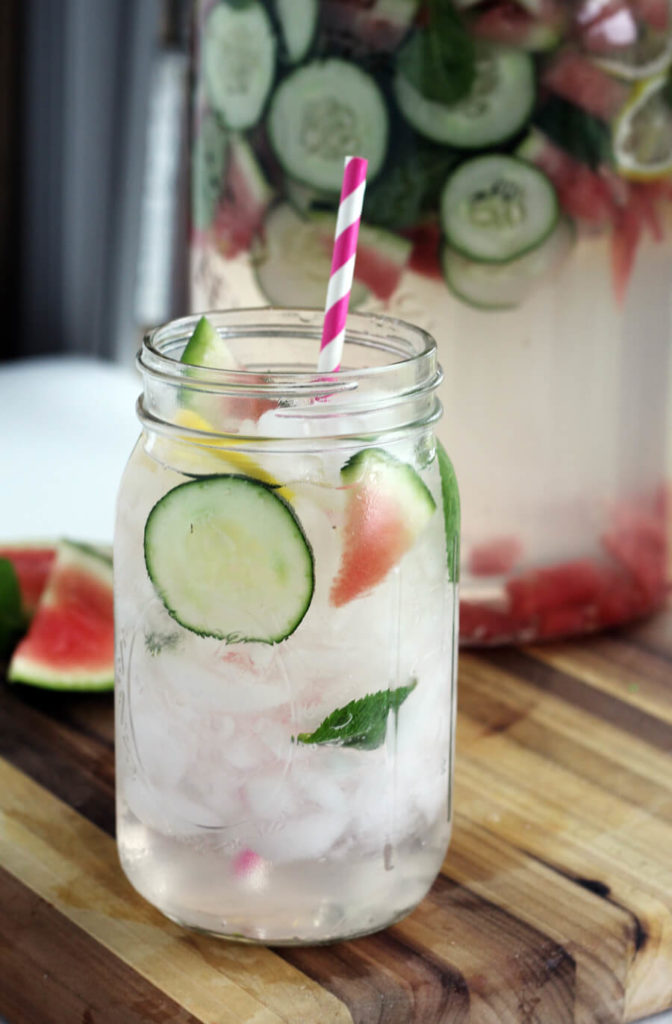 Detox Water with Cucumber + Melon