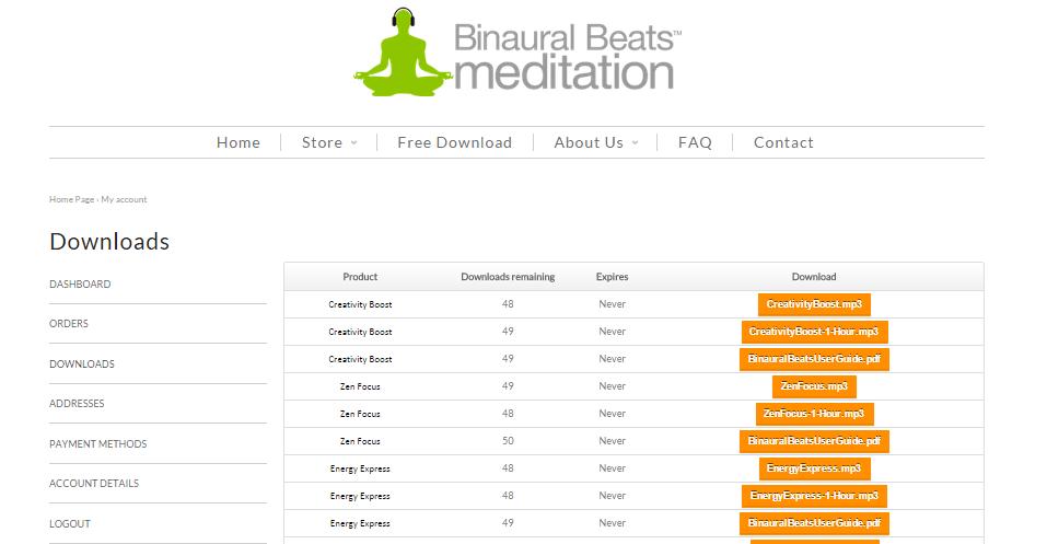 download page binaural beats