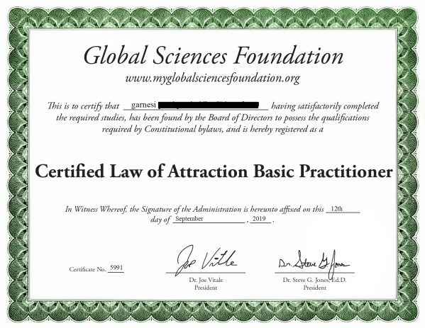 law of attraction certification