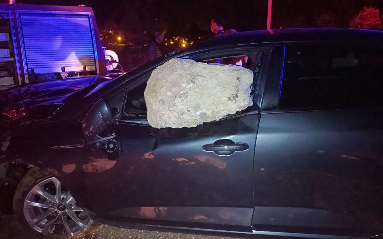 Tokat'ta korkunç kaza! Kaya parçası cama saplandı