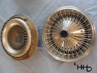back and front of wire wheel hubcap