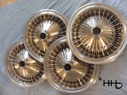 group view of wire wheel hubcaps