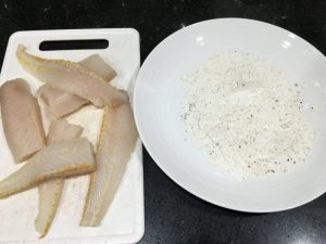 Chopped hake fillets