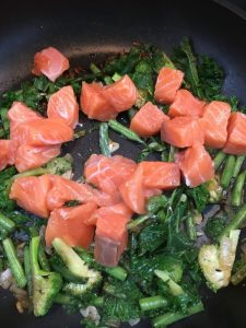 Buzymum - Salmon added to green veg stir-fry