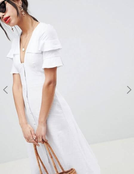 ASOS DESIGN linen button through casual midi tea dress €48.99