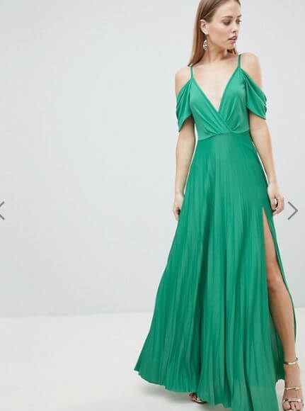 ASOS DESIGN Cold Shoulder Cowl Back Pleated Maxi Dress €36.99