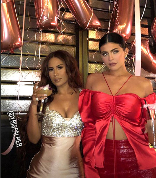 Kylie Jenner just stepped out for her friend Yris Palmer's birthday party wearing a red outfit