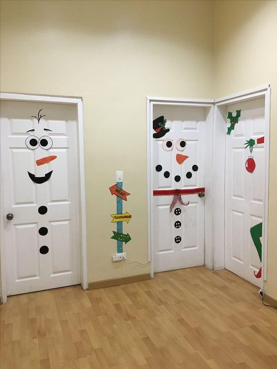 Christmas decor door snow man