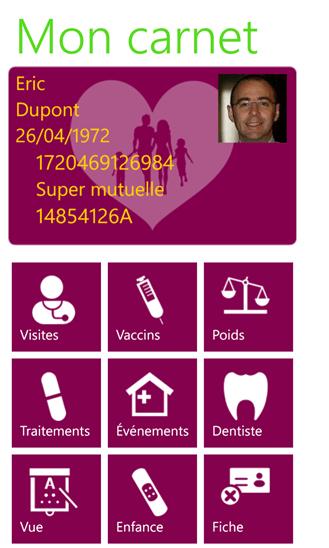 Carnet de santé : application mobile pour Windows Phone