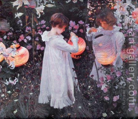 Carnation, Lily, Lily, Rose by Sargent - Reproduction Oil Painting