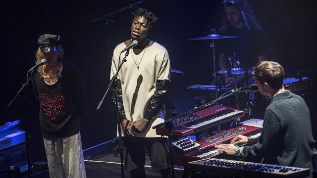 Connan Mockasin and Moses Sumney with James Blake at the Belasco Theater (Photo by Annie Lesser)