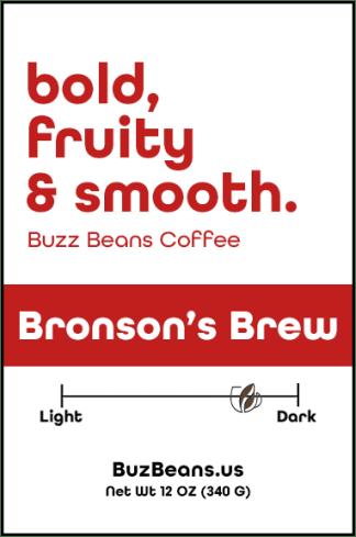Buzz Beans Coffee Label Bronson's Brew