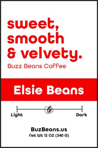 Buzz Beans Coffee Label Elsie Beans