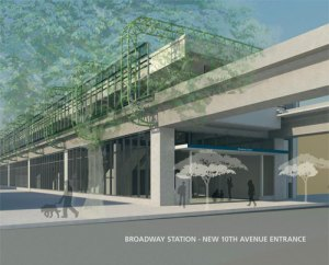 The new entrance planned for the 10th Avenue side of Broadway (click for larger)