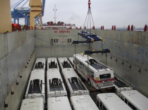 Trolleys being loaded into the cargo hold of the vessel Wisdom. Photo courtesy CTL Westrans Shipbrokers.