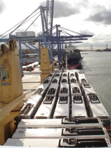 The trolleys on the deck of the Wisdom. Photo courtesy CTL Westrans Shipbrokers.