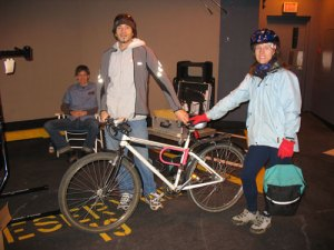 Bike mechanics from Cap's Bicycle Shop were helping tune up bikes in the Metrotown parking garage nearby.