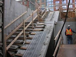 The uppermost set of stairs in Yaletown Station.