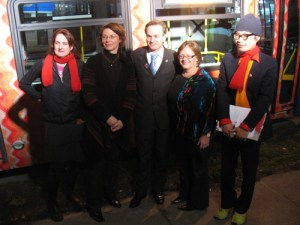 Left to right: Kelly Lycan from Instant Coffee; Sheri Plewes, TransLink's VP of Planning and Capital Management; Andrew Saxton, MP for North Vancouver; Heather Deal, Vancouver deputy mayor; Jinhan Ko from Instant Coffee.