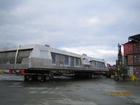 The SeaBus passenger shell arrives at Victoria Shipyards last week.