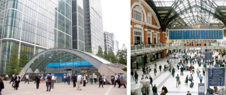 Canary Wharf Station (left) and Liverpool Street Station serve as possible inspirations for the Waterfront Station hub.