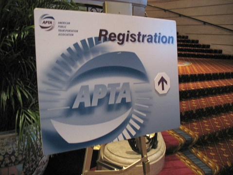 The APTA rail conference registration sign in the Chicago Hilton. I'm currently in the registration room, promoting Vancouver's 2010 conference to other transit agencies and industry folks!