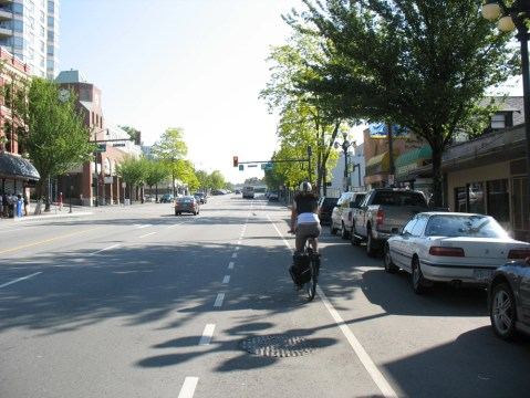 The bike route on Columbia Street.