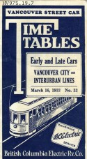 The cover of the 1933 streetcar timetable book.