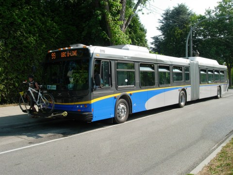 The New Flyer articulated hybrid bus is now on the 99 route!