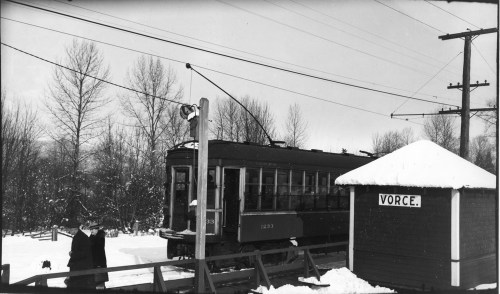 Vorce Station on the Burnaby Lake Line in the 1940s. Courtesy of the <a href=http://www.burnabyvillagemuseum.ca>Burnaby Village Museum</a>.