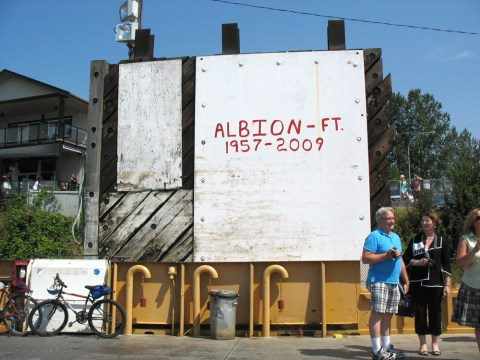 The Albion Ferry's service years, written on the Maple Ridge dock.