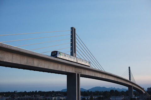 A Canada Line train on the North Arm Bridge!