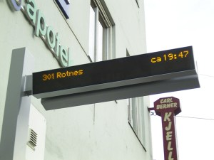 An example of the real-time information displays that will be installed at 29 Main Street stops. (Although the 301 Rotnes is not coming to Main St!)