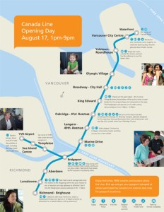 The Canada Line opening day map, showing stamp locations, bathrooms, and more. Click for a larger version. It's also available in <a href=http://www.translink.ca/~/media/Documents/Rider%20Info/Canada%20Line/Canada%20Line%20Opening%20Day%20Activity%20Map.ashx>PDF format</a>!