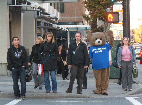 The Ride-Share bear, out at Broadway and Granville this morning!