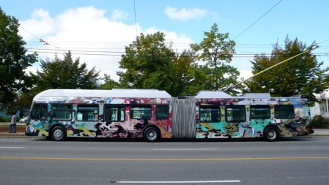 A bus wrap designed by Germaine Koh as part of five public art exhibits over two years on Main Street. See <a href=http://buzzer.translink.ca/index.php/2009/08/more-public-art-debuts-on-main-street/>this post</a> for more on Germaine's project, and <a href=http://buzzer.translink.ca/index.php/2009/01/main-street-public-art-program-has-its-official-launch/>this post</a> about the first installation in the public art program.