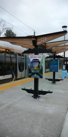 The streetcar shelter at Olympic Village station.