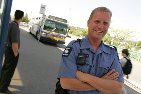 Transit Security personnel wear blue shirts in the summer -- in winter they wear yellow jackets.