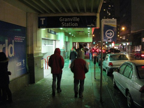 The new entrance name sign at Granville Station. (Yes, somebody has messed with the SkyTrain arrow sign at right – we are going to remove it!)