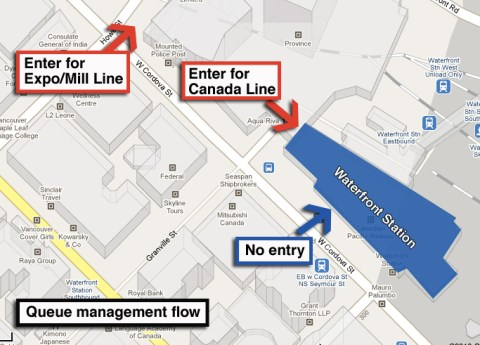 A diagram of the queue management strategy at Waterfront.