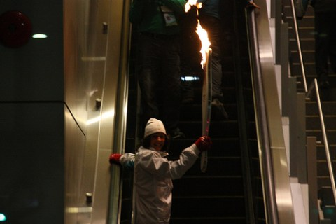 The Olympic flame at Aberdeen Station on Canada Line! Photo by <a href=http://www.flickr.com/photos/theducks/4345498518/>Alex Dawson</a>.