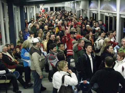 Crowds waiting at the SeaBus south terminal at Waterfront after the opening ceremonies on Friday, February 12.
