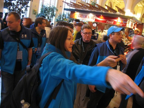 Members of the Olympic transportation team and additional transit staff organize their strategy.