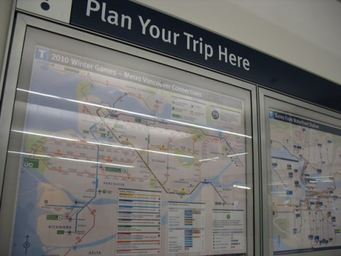 The trip planner in Waterfront Station.